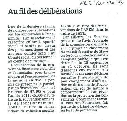ER 27 janvier 2014 - séance deu Conseil municipal