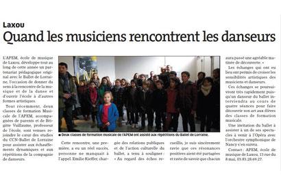 Est Républicain du 22janv.2015 - Visite au Ballet de Lorraine