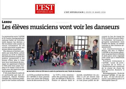 ER du 10 mars 2016 - Visite au CCN Ballet de Lorraine