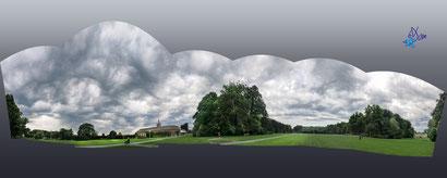 Le grand parc d'Enghien sous un ciel d'orage