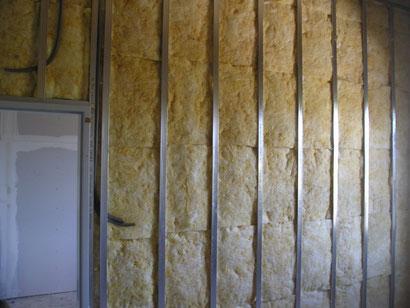 Trennwand reduzierter Ständerabstand inkl. Dämmung