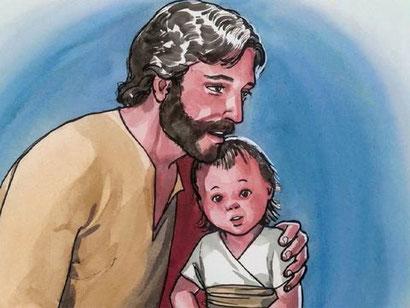 Jésus prend un petit enfant pour parler de l'humilité, qualité indispensable