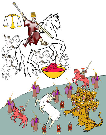 Ceux qui auront porté allégeance à la bête seront tués par l'épée qui sort de la bouche de Jésus, ils subiront une destruction totale.