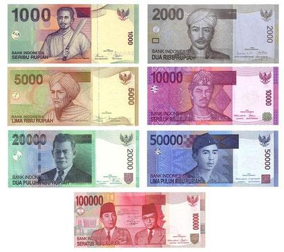 les billets des roupies indonésiennes