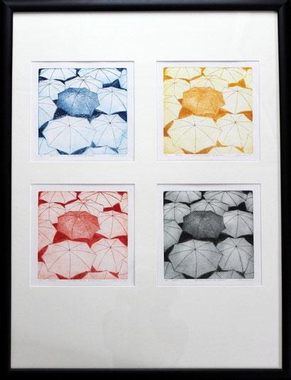 Schirmherrschaften für Europa  //  Druckformat: 19,3  x 19,3  Aquatinta, Linienätzung  //  Pp. mit 4 Ausschnitten  60  x 80  //