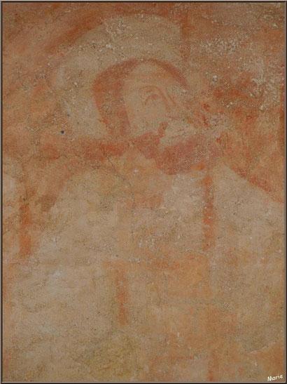 Eglise St Michel du Vieux Lugo à Lugos (Gironde) : fresque murale dans le choeur, le Christ très certainement