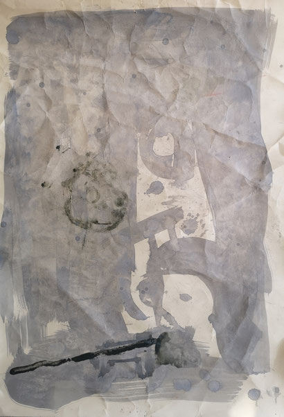 SOLD - 'Crumpled composition #1' acrylic on paper