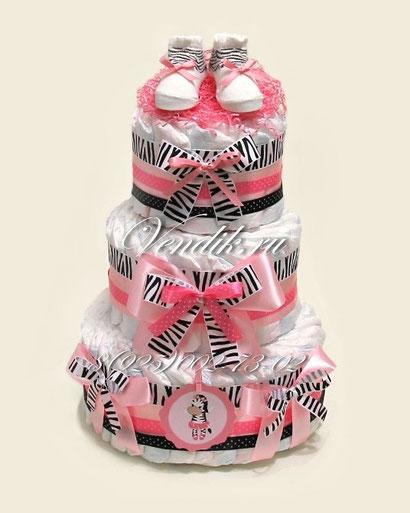 """Стильный яркий памперсный торт для новорожденной девочки (Сафари стиль) """"Зебра"""""""