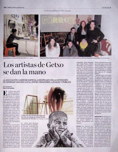"""Nace en Getxo la asociación Garrobi: Los artistas se dan la mano."" Hemendik. Deia"