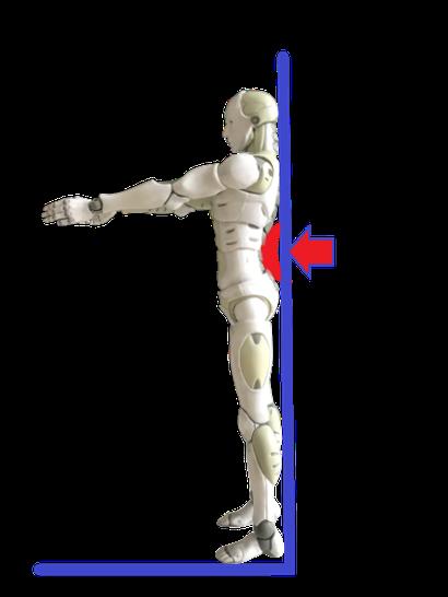 反り腰は腰-壁の隙間に手の平がすっぽり入る