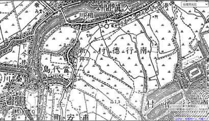 昭和20年頃の新井周辺の地図。ほとんどが水田で、道も今の京成バス通りしか無かったことがわかります
