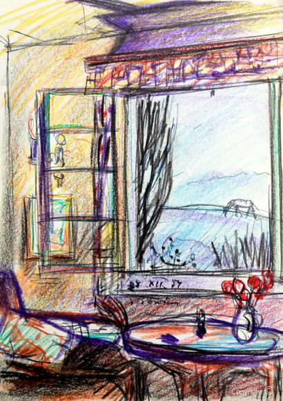"""Fensterausblick aus dem Salon vom """"Schwarzen Haus"""", 1959"""