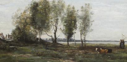 Tableau de COROT  Paysage de la Baie de Somme vraisemblablement été peint entre 1855 et 1862