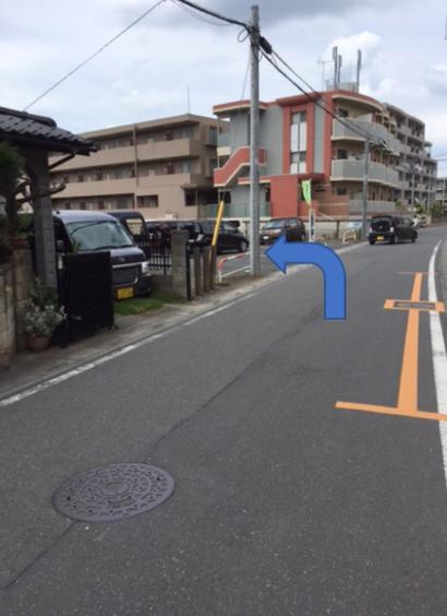 左の砂利の駐車場です