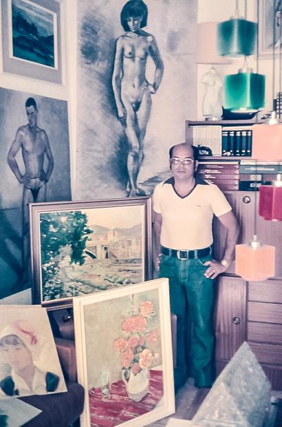 Peraza en su casa del santacrucero Barrio de La Salud, Años 70.