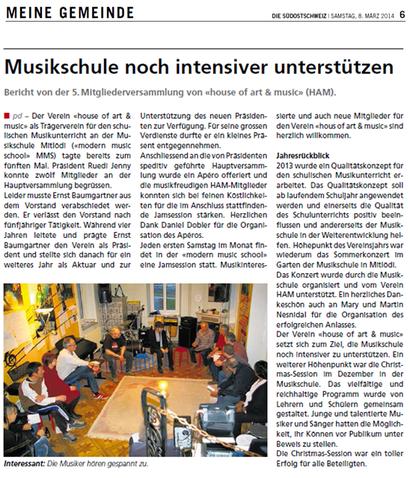 Pressebericht in der Südostschweiz, 8. März 2014