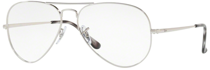 Occhiali da vista Ray-Ban unisex 0RX 6489 AVIATOR. Colore: 2501 argento. Forma: goccia. Materiale: metallo.