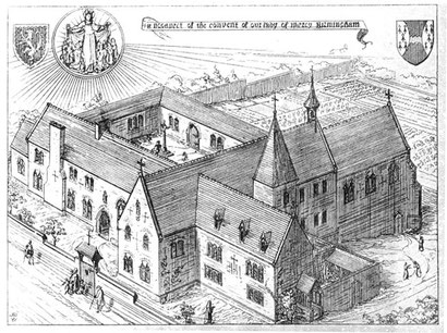 Convent of Our Lady of Mercy fromA W N Pugin 1843 The Present State of Ecclesiastical Architecture, scanned image byGeorge P. LandowfromThe Victorian Web - See Acknowledgements to link to this site.