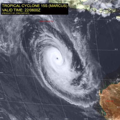 Satellite image of Tropical Cyclone Marcus off north west Australia, 22/03/2018. Image from JTWC.