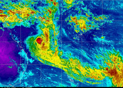 Colourised satellite image of Tropical Cyclone Linda in the Coral Sea 13/03/2018 0530 AEST. Image from NOAA.