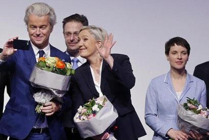 På besøg hos Marine Le Pe - højreekstremisterne  Geert Wilders (Holland) og Frauke Petry (Tyskland)