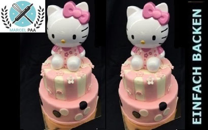 2-stöckige Hello Kitty Motivtorte