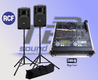 RCF PA Anlage mieten in Bonn, komplett mit IMG DJ Rack, Doppel CD Player, Mischpult