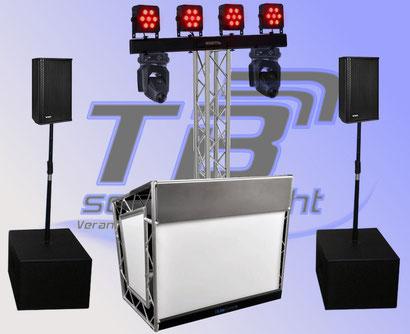 RCF Musikanlage mieten + Lichttechnik mieten mit LED System und Quadphase Strahleneffekt, sowie Nebelmaschine!