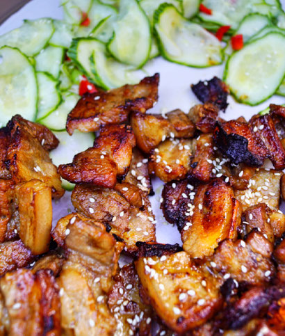 Sticky Pork Skewers - asiatisch glasierter Schweinebach vom Grill