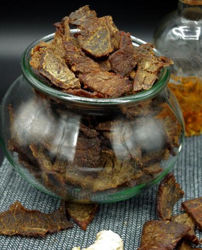Beef Jerky, Trockenfleisch, asiatisch mariniert