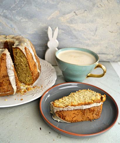 saftiger Rührkuchen mit Orange, Haselnuss und Joghurt