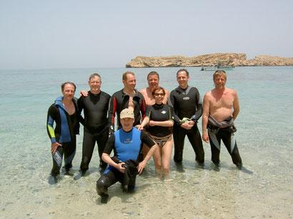 Unsere Oman-Gruppe Dieter, Michael, Roland, Jean-Claude, Thomas, Sylvie, Harald und Ottmar