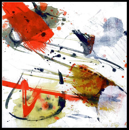 "WVZ 02/2017 / SERIE ""Experiments on PAPER"" / Acryl / Tusche / Beize auf festem Papier hinter Passepartout/ Bildausschnitt 15x15 cm/ Gesamtformat 30x30 cm"