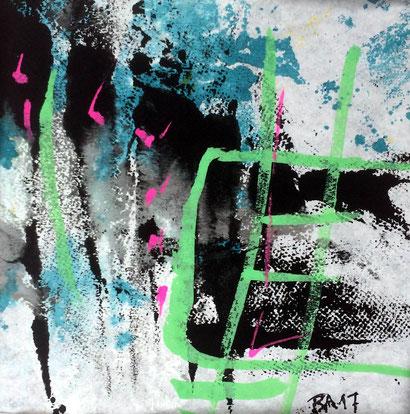 """WVZ 015/2017 / """"farb(en)los 02"""" / Acryl auf Papier hinter Passepartout / 15 x 15 cm / Gesamtformat 30 x 30 cm"""
