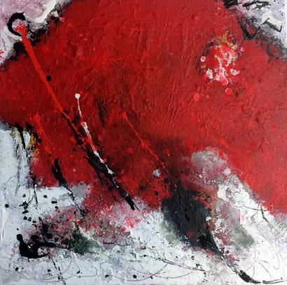 """WVZ 023/2016 - """"launische Zeiten"""" - Acryl  auf strukturierter Leinwand / Format 40x40 cm/ im Schattenfugenrahmen, weiß"""