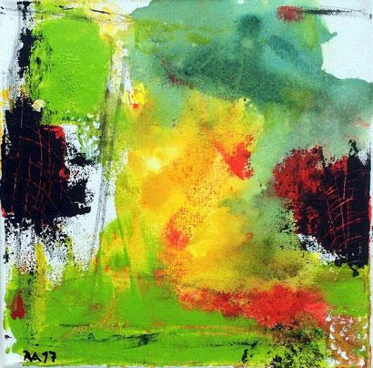 """WVZ 09/2017 / """"Summer feeling"""" / Acryl auf Leinwand / Format 30 x 30 cm / im Schattenfugenrahmen, weiß / zu verkaufen"""