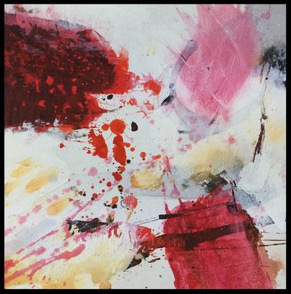 WVZ 03/2017 / SERIE - Experiments on Paper / Acryl / Tusche / Beize auf festem Papier  hinter  Passepartout / Bildausschnitt 15x15 cm / Gesamtformat 30x30 cm