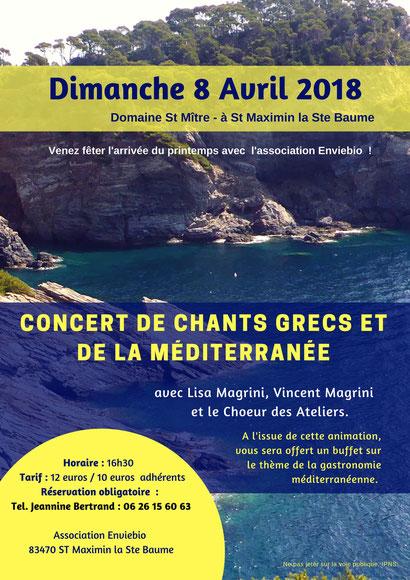 Chant grec et de la méditerranée avec Lisa Magrini, soprano et direction, Vincent Magrini guitare et guitariole,  choeur des ateliers.