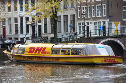 The 'DHL Floating Service Center' supports the bike delivery team