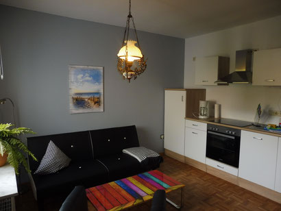 Wohnküche in der Ferienwohnung Sandbank