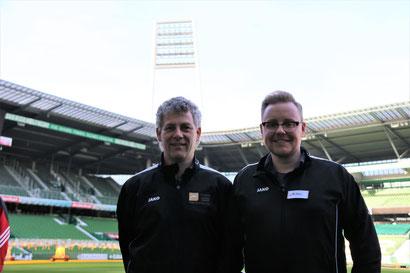 Heinz Schulte und Andreas Thomes im Weser-Stadion