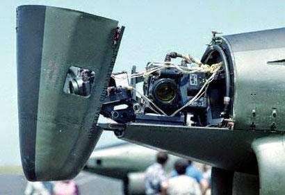 """Muso di un G-91R. A differenza degli esemplari di pre-serie che era conico, il muso dell'""""R"""" alloggiava tre fotocamere Vinten F-95 Mk.3 per la ricognizione tattica."""