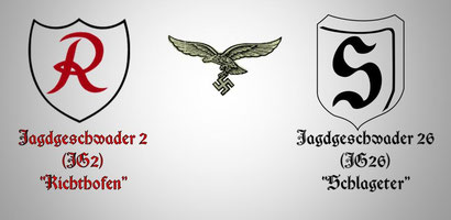 """Gli stemmi del Jagdgeshwader 2 e26  dedicati ai due assi  Manfred Von Richtofen """"Il barone rosso""""  e Albert Leo Schlageter. (Prima Guerra Mondiale)"""