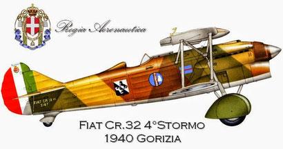 Velivolo del Col. Gradinetti comandante del 4° Stormo C.T. Artista: © Zbynek Valka - Elaborazione: AeroStoria