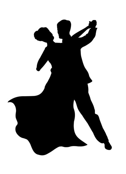 silhouette of man and woman ballroom dancing.