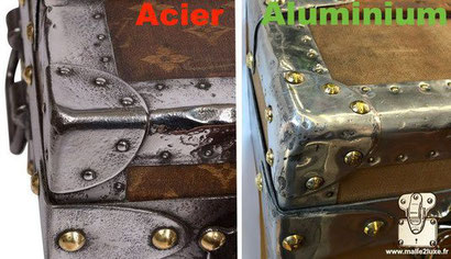 malle en coin steel and aluminum corner trunk do not confuse vuitton luggage
