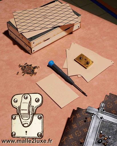sac petite malle structure rigide en bois Louis Vuitton