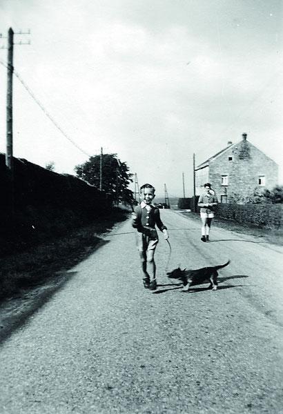 Hauseter Weg auf Frepert mit Dackel Waldi - Haus Lentz 1953