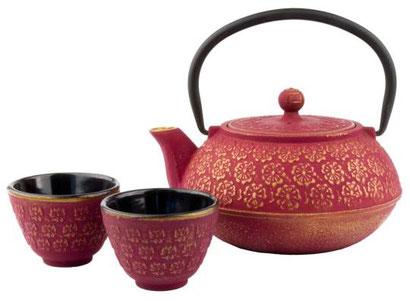 Teekanne & Tassen Asia Shanghai schwarz pink & gold, pink gold Teekanne, orientalische Kanne