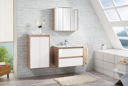Bad Hängeschrank, Waschtischunterschrank, Spülbecken, Spiegelschrank mit Beleuchtung, weiß, Pinie